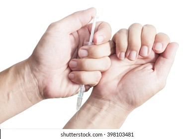 Male hands holding a syringe and injected. Isolated white background