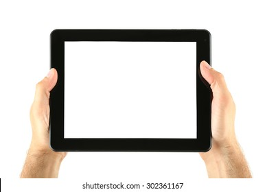 Male hands holding tablet isolated on white