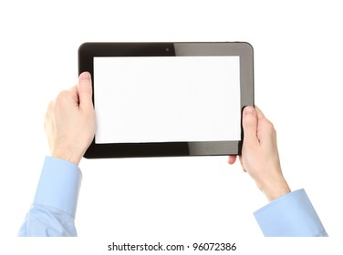 male hands holding a tablet isolated on white