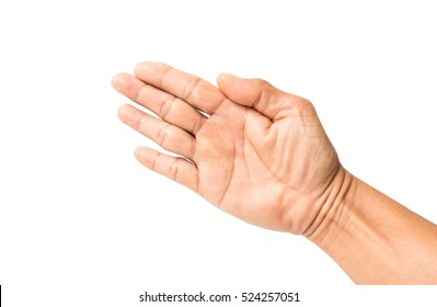 Male hands isolated on white background.