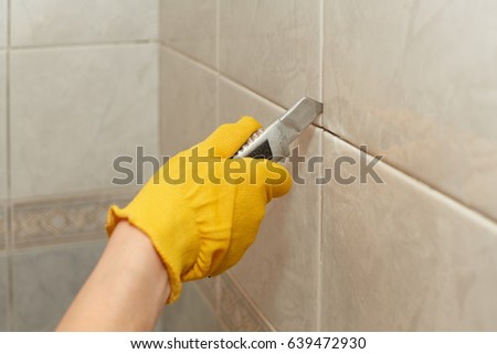 Male Hands Knife Removing Old Grout Stock Photo Edit Now 639472930