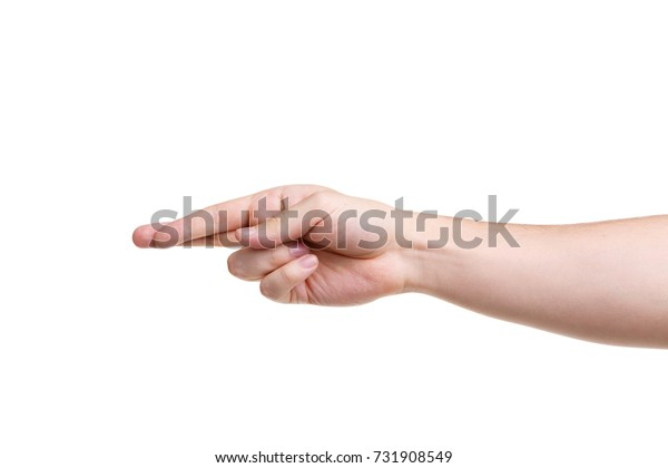 Male hands making a sign. Isolated on white background.