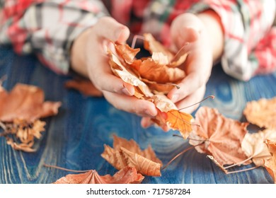 male hands playing with dry leaves, close up view