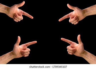 Male hands point fingers to an object . Symbol of choice.Fingers