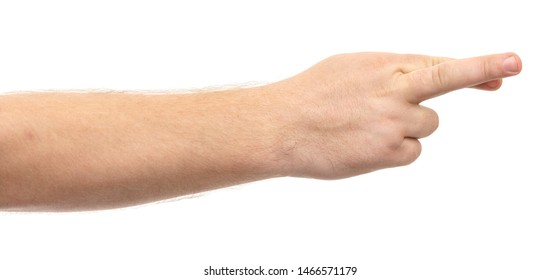 Male hands show gesture isolate on white background.