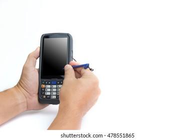 Male hands using a hand held barcode scanner Enterprise Digital Assistant computer.