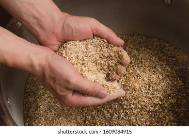 Male hands from which ground malt pours out. good attitude to craft. Craft beer brewing from grain barley pale malt in process. Ale or lager from pilsner malt