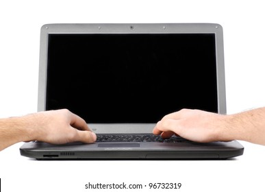 male hands are working on laptop, cut out from white