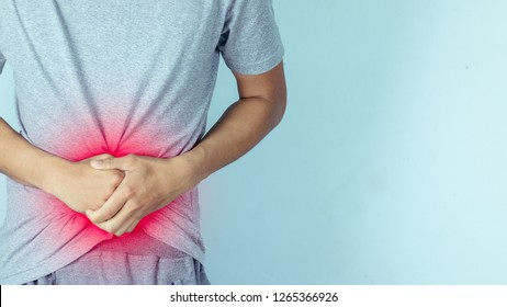 Male having stomachache or Gastroenterologists ,Concept with Healthcare.