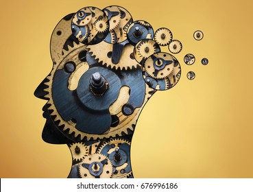 The male head is filled with gears on gold background.