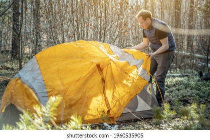 Male hiker is setting up a bright orange tent in the forest. Concept of tourism, hiking and staying in nature.