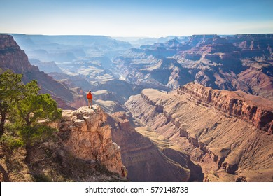 A male hiker is standing on a steep cliff taking in the amazing view over famous Grand Canyon on a beautiful sunny day with blue sky in summer, Grand Canyon National Park, Arizona, USA