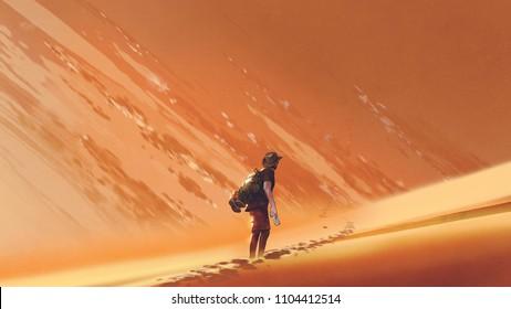 male hiker walking on sand desert, digital art style, illustration painting