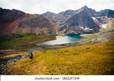 Male hiker walks in Tombstone Territorial Park, Yukon Canada. Huge stunning mountains and a lake is in the distance. Inspiring landscape. Summer and Fall hiking. Campground with tents.