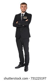 Male hotel receptionist in uniform on white background