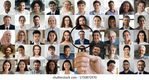 Male hr manager holding magnifier choosing hunting human resources data finding new right recruit among multiethnic professional people faces collage. Recruitment assessment, staff search concept. - Shutterstock ID 1733872970