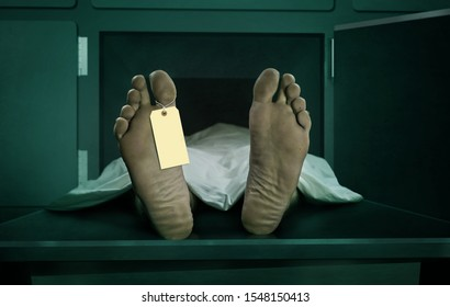 Male human body lying dead at morgue capsule with blank identification label . Close up foot of man cadaver covered with sheet having indentity tag on toe in human life loss and death concept