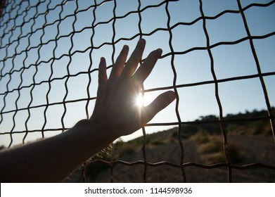 male human hand touching fence cage in jail and illegal immigration on sunset