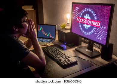 Male Investor feeling stressed and frustrated due to access denied of bitcoin system with candlestick graph price down on laptop screen. Bitcoin cryptocurrency digital money crisis concept