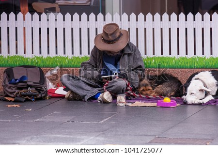 Male isolated homeless wearing