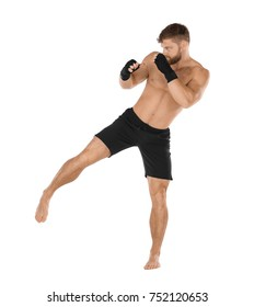 Male kickboxer on white background