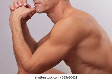 Male laser epilation. Attractive man torso hair removal. Close up on perfect male body, muscles