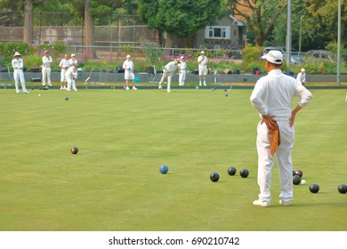 Male Lawn Bowlers enjoy an active round of outdoor competition.