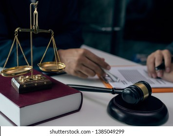 Male lawyer or judge consult having team meeting with client, Law and Legal services concept....