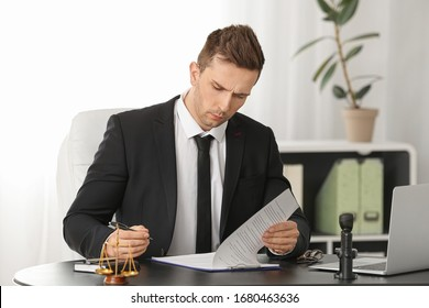 Male lawyer working with document in office