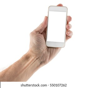 Male left hand holding smartphone with blank screen