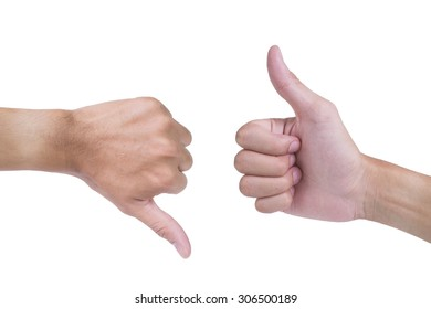 Male left hand thumb down and Male right hand thumb up on white background