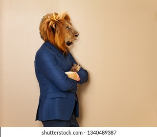 Male lion in office clothing suit and shirt