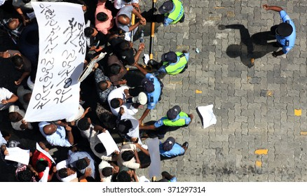 Male, Maldives. 12.30.2010. View from above of  a demonstration and protest march organized in the Maldivian capital city, Male, against the corruption and immunity that MPs voted for themselves.