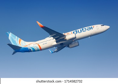 Male, Maldives – February 19, 2018: FlyDubai Boeing 737-800 airplane at Male airport (MLE) in the Maldives. Boeing is an American aircraft manufacturer headquartered in Chicago.