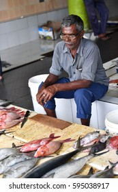 MALE, MALDIVES - MARCH, 4 2017 -  People buying at island capital fish market