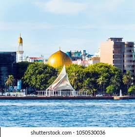 "MALE, MALDIVES - NOVEMBER 18, 2016: View of the city of Male - ""the capital of the Maldives"". Copy space for text."