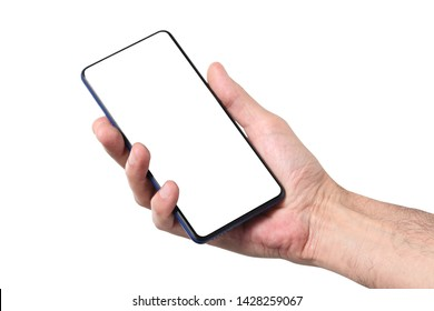 male man holding and showing  blank smart phone isolated  on white background  with clipping path around hand and display with copy space for your text