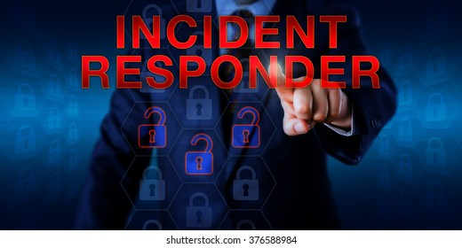 Male manager is pressing INCIDENT RESPONDER on a touch screen. Information security technology concept for a cyber firefighter troubleshooting for the root causes of security gaps and system flaws.