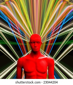 Male mannequin on futuristic background