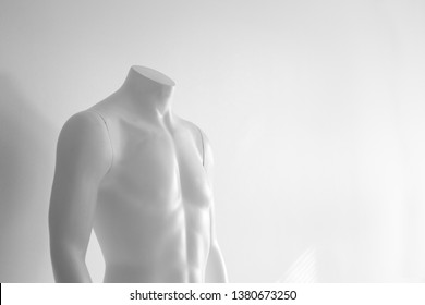 Male mannequin upper body torso against wall, black and white