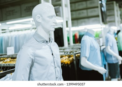 Male mannequins inside a fashion house, Color Effect