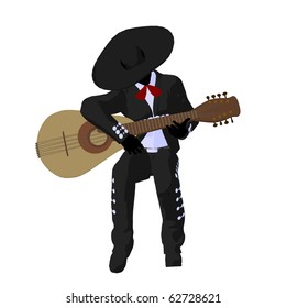 Male mariachi with a guitar illustration silhouette illustration on a white background