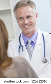 Male medical doctor talking to a female patient in a hospital office