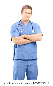 Male medical practitioner in a uniform posing isolated against white background