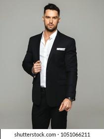 Male model in black suit