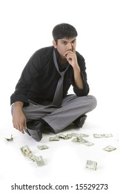 Male model with cash over white background