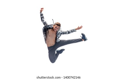 male model doing break dance routine. isolated on white background