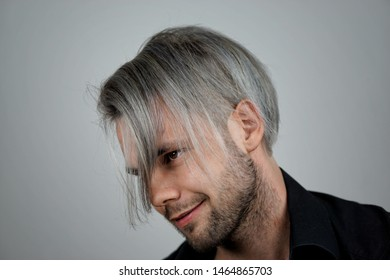 male model with silver hairs