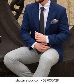 Male model in a suit posing