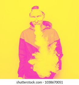 the male model vapes or smokes. yellow and pink double color effect
